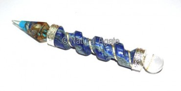 Twisted Wands Orgone With Lapis Lazuli