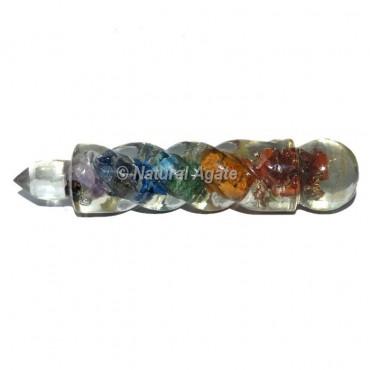 Seven Chakra Spiral Crystal Orgone Healing Wand