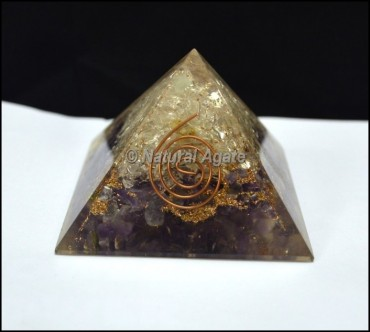 Crystal and Amethyst Orgone Pyramid