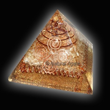 Crystal Quartz With Copper Orgone Pyramid
