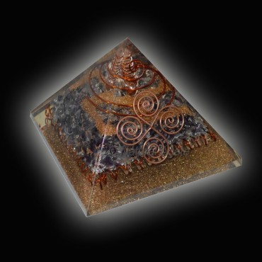 Iolite With Copper Orgone Pyramids
