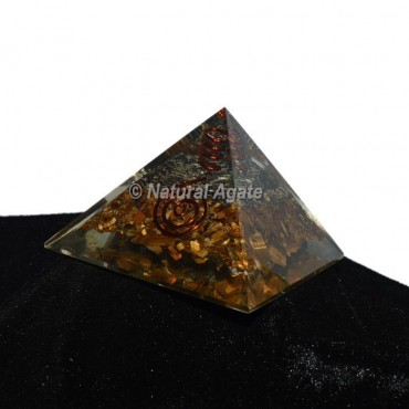 Tiger Eye With Crystal Carved Orgonite Pyramid
