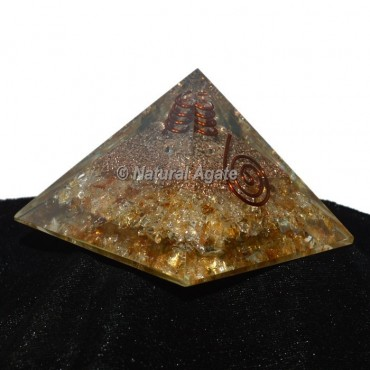 Yellow Quartz Orgonite Pyramid