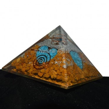 Yellow Jasper With Turquoise Orgonite Pyramid