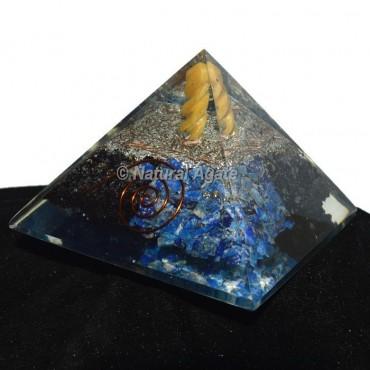 Lapis Lazuli -Black Tourmaline Orgonite Pyramid