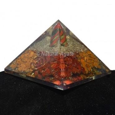 Red Japer-Yellow Jasper With Spiral Orgonite Pyramid