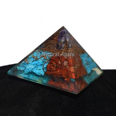 Turquoise With Red Jasper Orgonite Pyramid