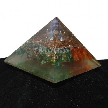 Green Aventurine With Red Carnelian Orgonite Pyramid