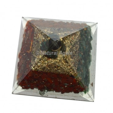 Red Jasper With Green Aventurine Orgonite Pyramid