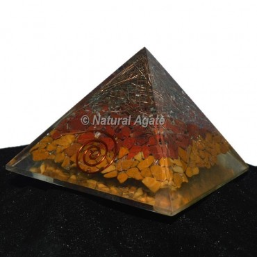 Red Jasper And Yellow Jasper Layer Orgonite Pyramid