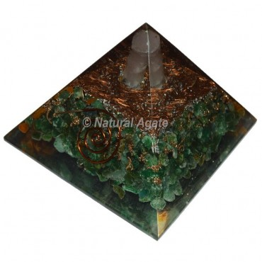Yellow Jasper With Green Aventurine Crystal Point Orgonite Pyramid