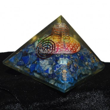 Lapis Lazuli With Flower Of Life Orgonite Pyramid