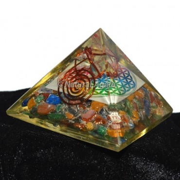 Crystal Chakra Orgonite Pyramid with Flower Of Life