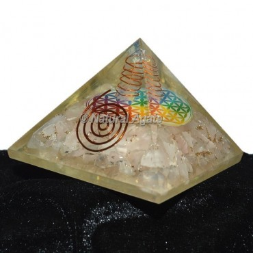 Rose Quartz Flower Of Life Orgonite Pyramid