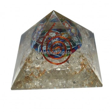 Crystal Quartz With Sanskrit Orgone Pyramid
