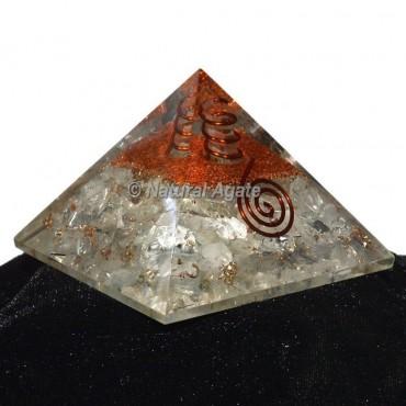 Crystal Quartz With Brass Orgone Pyramid