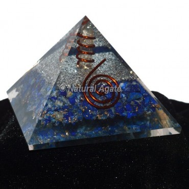 Lapis Lazuli With Silver Brass Orgone Pyramid
