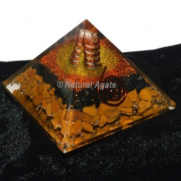 Black Tourmaline With Yellow Jasper Orgone Pyramid