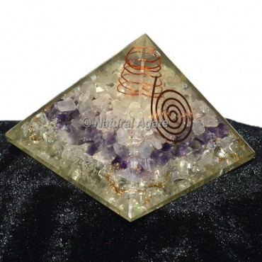 Crystal Quartz-Rose Quartz-Amethyst Orgone Pyramid