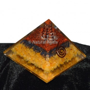 Golden Quartz With Black Tourmaline Orgone Pyramid