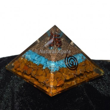 Yellow Jasper With Turquoise Orgone Pyramid