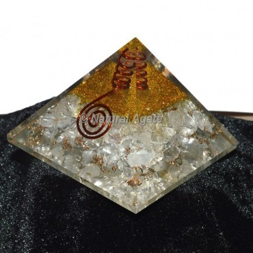 Crystal Quartz With golden Brass Orgone Pyramid