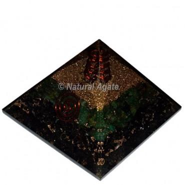 Black Tourmaline With Green Aventurine Orgone Pyramid