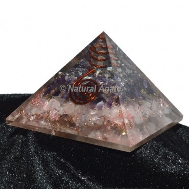 Rose Quartz With Amethyst Layer Pyramid