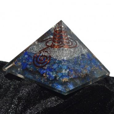 Lapis Lazuli With Silver Brass Orgonite Pyramid