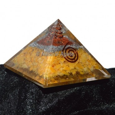 Golden Quartz With Copper-Silver Brass Orgone Pyramid