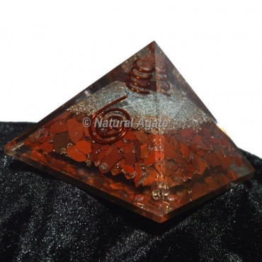 Red Jasper With Silver Orgone Pyramid