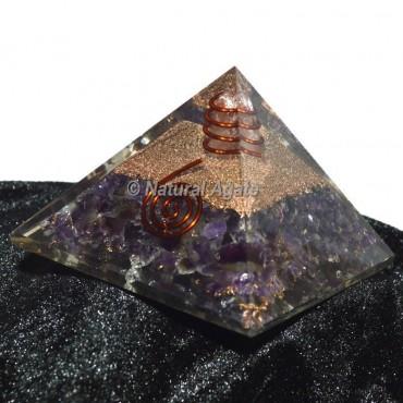 Amethyst With Golden Brass Orgone Pyramid