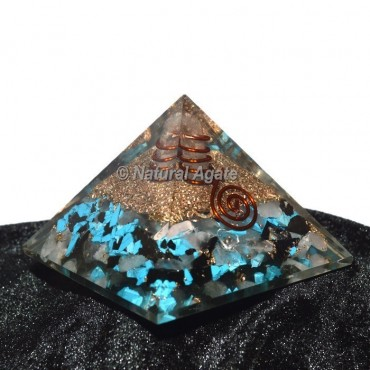 Turquoise-Rose Quartz-Black tourmaline Orgone Pyramid