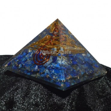 Brass With Lapis Lazuli Orgone Pyramid