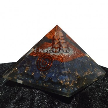 Iolite With Copper-Silver Brass Orgone Pyramid