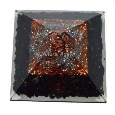 Black Tourmaline With Copper-Silver Brass Orgone Pyramid