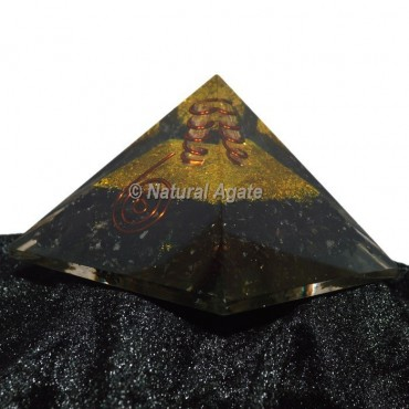 Black Tourmaline With Gold Brass Orgone Pyramid