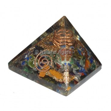 7 Chakra With Crystal Point Mini Orgonite Pyramid