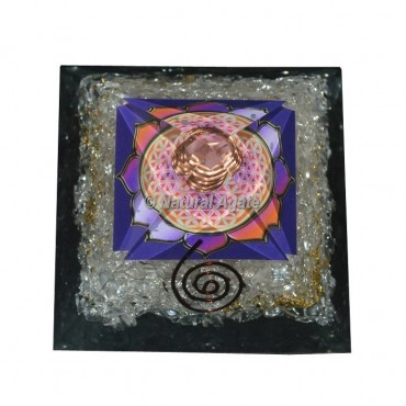 Crystal Quartz Flower Of Life Orgonite Pyramid