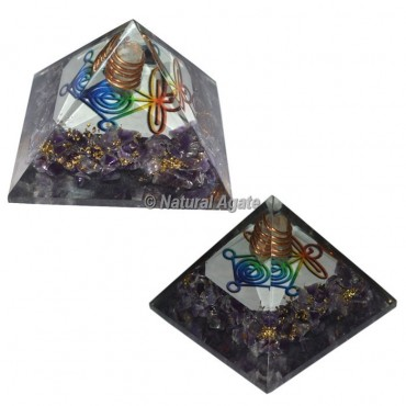Amethyst Reiki Symbol With Crystal Point Orgonite Pyramid