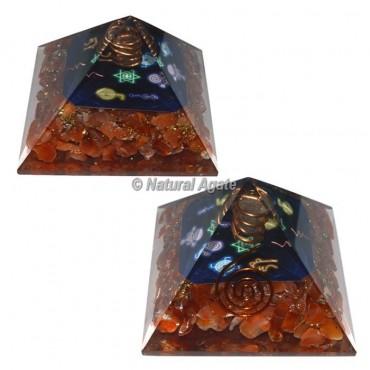 Carnelian With 7 Chakra Reiki Symbol Orgone Pyramid