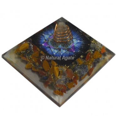 Yellow Jasper With Color Pentagram Orgone Pyramid