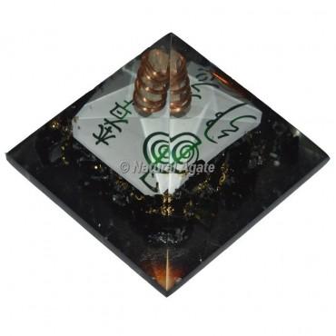 Black Tourmaline With Reiki Symbol Orgonite Pyramid