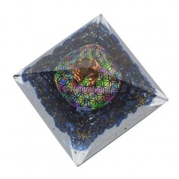 Dyed Lapis With Flower Of Life Orgone Pyramid