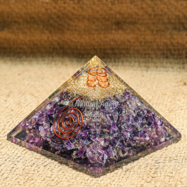 Amethyst EMF protection Orgonite Pyramid