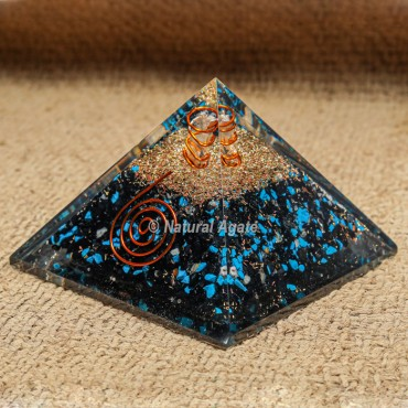 Orgonite Tourmaline and Turquoise EMF protection Pyramid