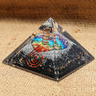 Touramline Orgonite Pyramid with Seven Chakra