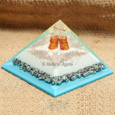 Blue and White Flame with Silver Dust Orgonite Protection Pyramid