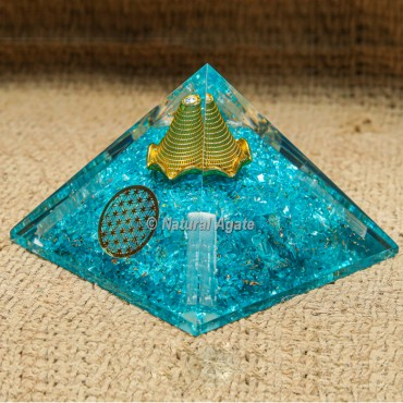Aqua Orgonite Protection Pyramid with Flower Of Life Coin