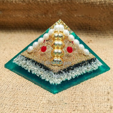 Howlite & Tourmaline with Beads Orgonite Protection Pyramid